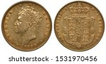 Great Britain British golden coin 1 one sovereign 1830, head of King George IV left, date below, crowned shield with designs,