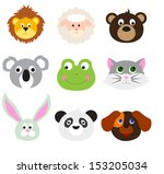 animal faces set | Shutterstock .eps vector #153205034
