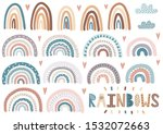 cute rainbows  clouds  hearts... | Shutterstock .eps vector #1532072663