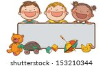 banner of kids and toys peeping ... | Shutterstock .eps vector #153210344