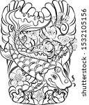 koi fish carp with flower and...   Shutterstock .eps vector #1532105156