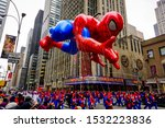 Spiderman balloon floats in the ...
