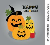 three pumpkin for halloween.... | Shutterstock .eps vector #1532307293