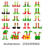 Christmas Elf Feet Set  Vector...