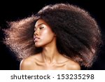 Small photo of Beautiful Stunning Portrait of an African American Black Woman With Big Hair