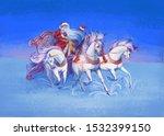 Horses And Santa Claus. New Year