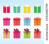 set of multicolor gift box with ... | Shutterstock .eps vector #1532400749
