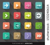 set of arrow sign flat icons...