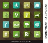 set of green ecology flat icons ...