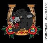 black panther vintage tattoo... | Shutterstock .eps vector #1532465570