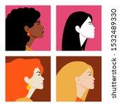 faces of women in profile.... | Shutterstock .eps vector #1532489330