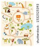 Vector tropical maze with animals in safari park. Cartoon tropical animals. African animals. Road in a safari park. Game for children. Children
