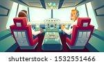 pilots in jet cockpit  capitain ...   Shutterstock .eps vector #1532551466