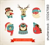 christmas hipster animals.... | Shutterstock .eps vector #153267083