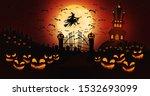 halloween pumpkins at cemetery... | Shutterstock . vector #1532693099