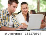 college students with laptop in ... | Shutterstock . vector #153270914