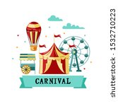 amusment park with circus tent  ... | Shutterstock .eps vector #1532710223