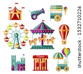 Amusment park elements with circus tent, carousel, castle, ferris whell, air ballon, cannon, mobile kiosk with ice cream. Vector illustrations set for  funfair, carnival, family park poster, flyer.