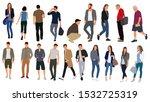 cartoon men and women walking... | Shutterstock .eps vector #1532725319