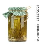 glass jar with pickled... | Shutterstock . vector #153272729