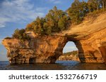 Landscape near sunset of Lover's Leap Arch, Pictured Rocks National Lakeshore, Lake Superior, Michigan's Upper Peninsula, USA