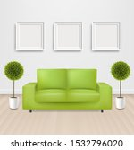 green sofa bed with and picture ... | Shutterstock .eps vector #1532796020