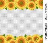 sunflowers border isolated... | Shutterstock . vector #1532796026