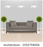brown sofa with lams with grey... | Shutterstock . vector #1532796056