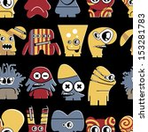 cute monsters on black  ... | Shutterstock .eps vector #153281783