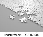 Damaged assembling of puzzle. 3D Illustration on gray background - stock photo