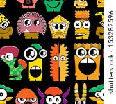 cute monsters on black  ... | Shutterstock .eps vector #153282596