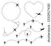 airplane flight route with pins | Shutterstock .eps vector #1532917430