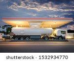 Tanker Gas Truck Delivering...