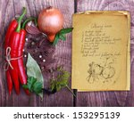 Spices And Old Recipe Book On...
