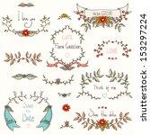 set of beautiful flourish... | Shutterstock .eps vector #153297224