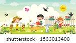 little children gardening and... | Shutterstock .eps vector #1533013400