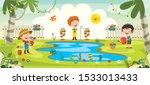 little children gardening and... | Shutterstock .eps vector #1533013433
