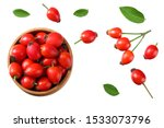 Rosehip Berries With Green...