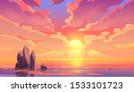 sunset or sunrise in ocean ... | Shutterstock .eps vector #1533101723
