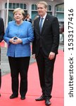 Small photo of Kiel, Germany, 3. October 2019. Angela Merkel and Daniel Gunther (politician) at the unitary ceremony in Kiel. both are looking into the cameras of the photographers.