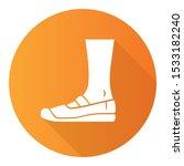 Stock vector canvas orange flat design long shadow glyph icon women and men stylish footwear unisex casual 1533182240