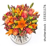 Bouquet Of Roses And Lilias In...