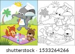 Stock vector cartoon of funny animals picnic in the park coloring book or page 1533264266