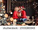 christmas family with baby... | Shutterstock . vector #1533283343