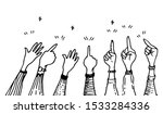 hand drawing with hands up ... | Shutterstock .eps vector #1533284336
