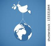 White Dove Holding Globe On A...