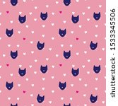 cat seamless pattern for girl... | Shutterstock .eps vector #1533345506
