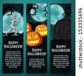 set of halloween banners with... | Shutterstock .eps vector #153335696