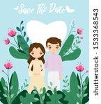 cute couple on flower wedding...   Shutterstock .eps vector #1533368543