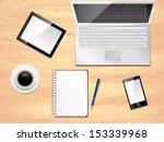 office desk with laptop ... | Shutterstock .eps vector #153339968